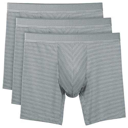 Separatec Men's 3 Pack Micro Modal Separate Pouches Comfort Fit Boxer Briefs (L,Striped Heather Light Gray)