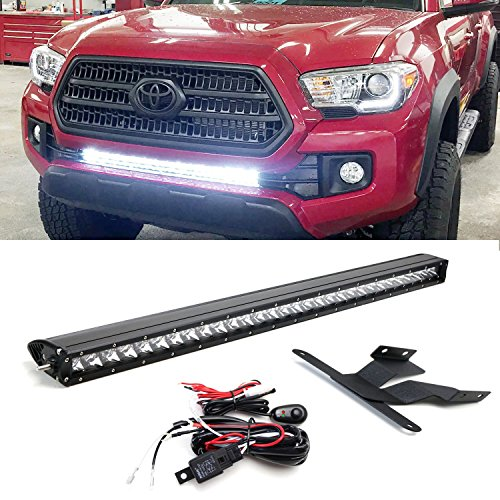 Light bar for toyota tacoma amazon ijdmtoy 30 150w high power cree led light bar with lower bumper insert mounting brackets and onoff switch wiring kit for 2016 up 3rd gen toyota tacoma mozeypictures Images