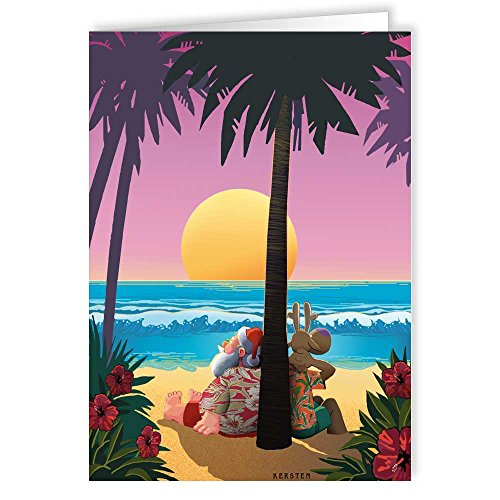 Tropical Sunset Christmas Card - Beach 18 Cards and Envelopes