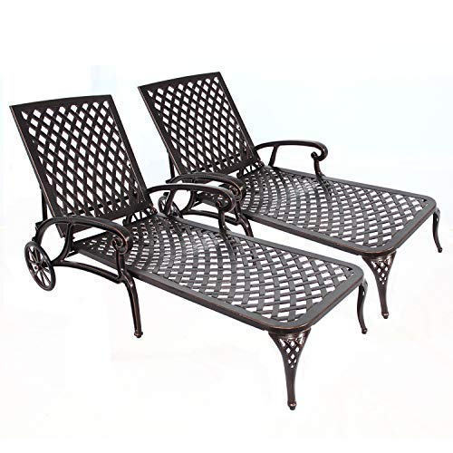 HOMEFUN Chaise Outdoor Aluminum Wheels Lounges Chair Adjustable Reclining Patio Furniture Set, Pack of 2 (Antique Bronze), 2PC Cast Aluminum Lounge Chairs