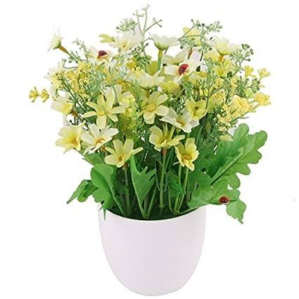 eDealMax plástico del Ministerio del Interior Daisy maceta Artificial artesanía Flor de escritorio de la decoración