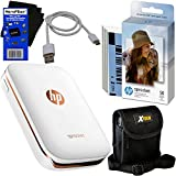 HP Sprocket Photo Printer, Print Social Media Photos on 2x3 Sticky-Backed Paper (White) + Photo Paper (60 Sheets) + Protective Case + USB Cable + HeroFiber Gentle Cleaning Cloth
