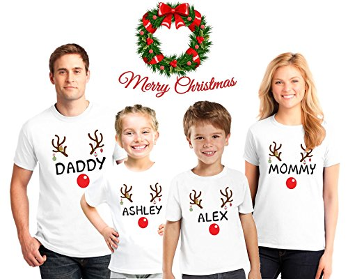 Reindeer Christmas Family Pajama Matching Shirts, Reindeer personalized Shirts, Christmas Reindeer Tshirts, Family Christmas pajama tees (Personalized Christmas Pajamas)