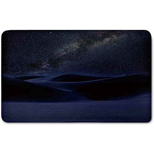 Memory Foam Bath Mat,Space,Desert Sand Dunes in Milky Way Stars at Dark Solar Celestial Reflection over Earth PicturePlush Wanderlust Bathroom Decor Mat Rug Carpet with Anti-Slip Backing,Blue by iPrint