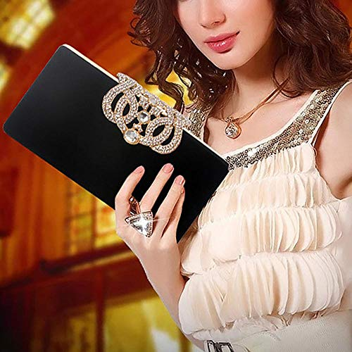 Velour Beads Box Evening Clutch Handbag, Soft Surface Hard Case Acrylic Clutch Purse Bag, Fashion Clutch Evening Bag for Prom Ball Shopping Formal Party Club (Black) by SIMANLI (Image #6)