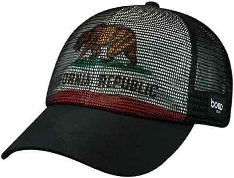 21da78fc BOCO Gear All Mesh Technical Trucker Hat - California - Black - Flag  underlay