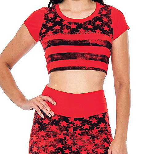Enimay Women's American Flag Top Set Sexy 4th Of July Crop Top Classic Shirt Red Small