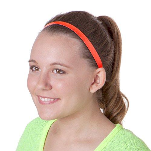 Hipsy 2pk Women's Adjustable NO SLIP RUNNING Headbands Multi Gift Pack (Neon Orange & Black)