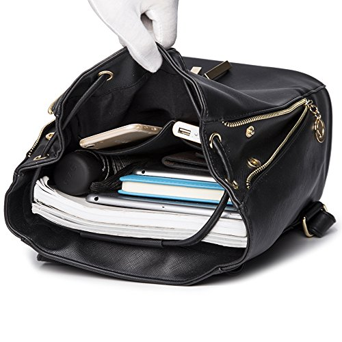 WINK KANGAROO Fashion Shoulder Bag Rucksack PU Leather Women Girls Ladies Backpack Travel bag (Blue) by WINK KANGAROO (Image #3)