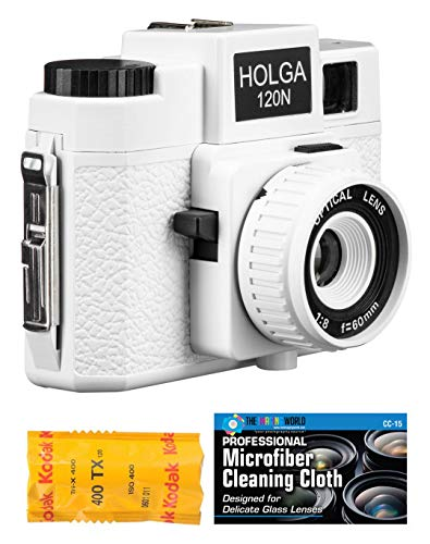 Holga 120N Medium Format Film Camera (White) with Kodak TX 120 Film Bundle and Microfiber Cloth