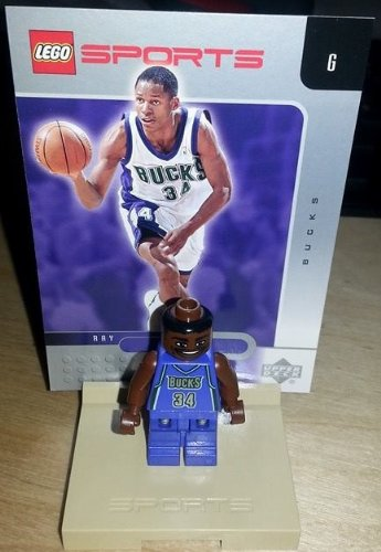 LEGO - Official NBA Lego Mini-Figures - RAY ALLEN Mini Figure - w/ stand & card