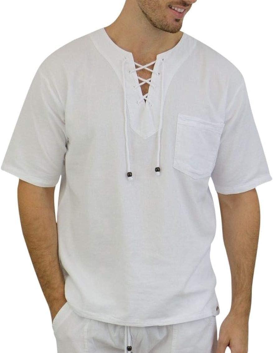 INGEAR Men's Fashion Henley Shirt- 100% Cotton Casual Hippie Short Sleeve Tee Shirt Beach Yoga Top