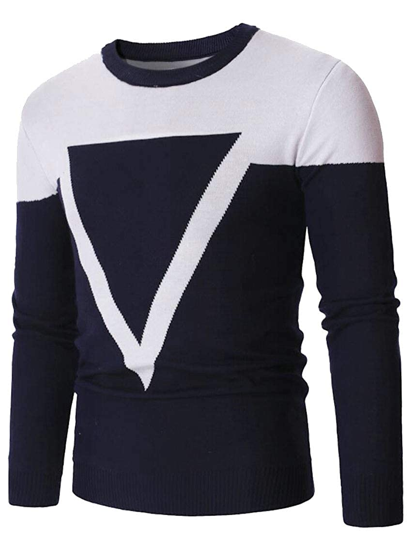 Yayu Mens Slim Color Block Knitting Hipster Knitwear Pullover Sweaters