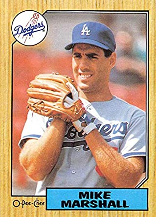 a2ac3176e 1987 O-Pee-Chee Baseball  186 Mike Marshall Los Angeles Dodgers Official MLB