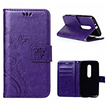MOONCASE Moto G (3rd Gen) G3 Wallet Case Flower Pattern Premium PU Leather Case for Motorola Moto G (3rd Generation) Bookstyle Soft TPU [Shock Absorbent] Flip Bracket Cover Purple