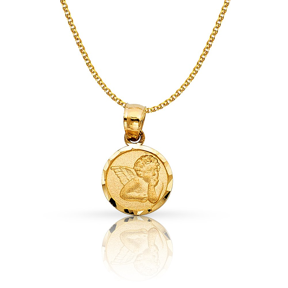 14K Yellow Gold Angel Charm Pendant with 1.2mm Flat Open Wheat Chain Necklace - 20'' by Ioka