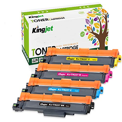Kingjet with Chip Compatible Toner Cartridge Replacement for TN227 TN223 TN-227 TN-223 for MFC-L3750CDW MFC-L3770CDW HL-L3210CW HL-L3290CDW HL-L3230CDW MFC-L3710CW HL-L3270CDW Printer Ink