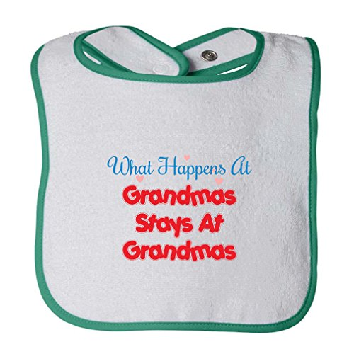 What Happens At Grandma'S Stays Infant Contrast Trim Terry Bib White/Green
