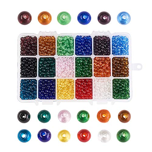 PH PandaHall 1 Box About 3690pcs 18 Colors 4mm Glass Beads Small Beads Handcrafted Glass Round Beads Assortment Lot for Jewelry Making