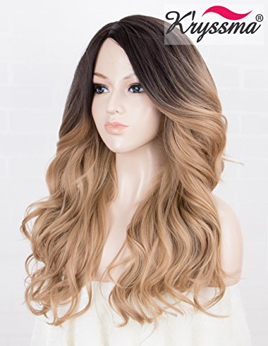K'ryssma Ombre Blonde Synthetic Wig with Dark Roots Full Machine Made Wavy Honey Blonde Wigs for Women Medium Length Heat Resistant Wig with Side Parting -