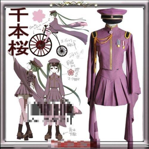 코스프레 의상 천개 벚꽃 하츠네 미쿠 바람 [L 사이즈 160 ~ 165cm / 와인 레드 색상] 기모노 유니폼 VOCALOID 보컬 로이드 고품질
