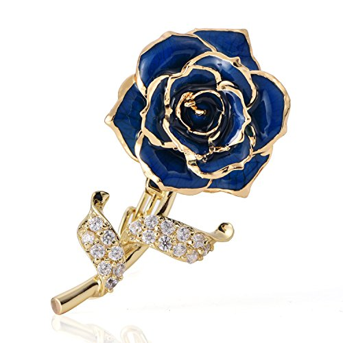- ZJchao Floral Brooch Pins for Women Brides Flower Brooch Badge 24K Gold Jewelry Gift for Her Birthday (Blue)