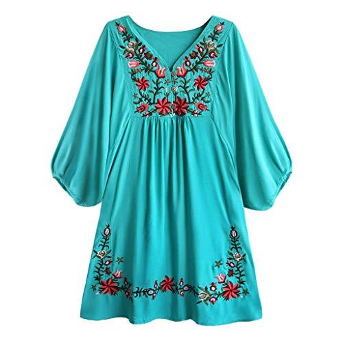 Caopixx Women's Embroidered Linen Dress Summer A-Line Sundress Tunic Top Bohemian Flowy Shift Mini Dress Green