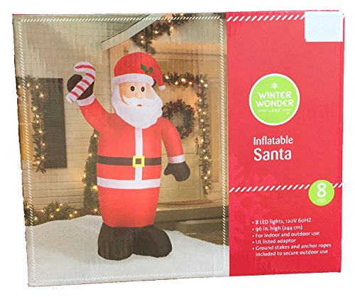 Inflatable Santa 8 feet Tall with LED Lights and Anchors