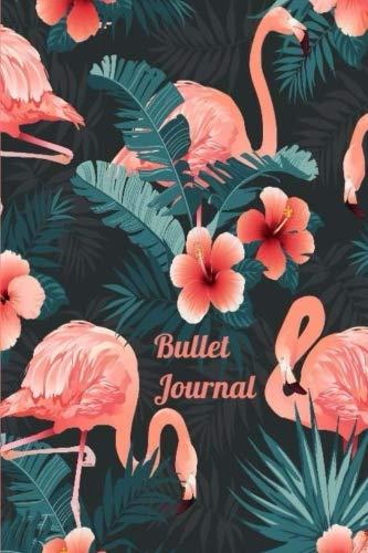 Bullet Journal: Tropical Flamingo Coral Hibiscus Palms Bullet Journal 6''x9'' Dot Grid Journal; Journaling (Bullet Journals) (Flamingo Coral)