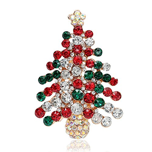 Meiyuan Colourful Rhinestone Christmas Tree Brooch Pin Xmas Gift Jewelry