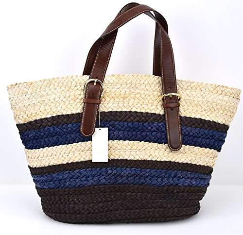 UGG AUSTRALIA DONNA BORSA SPALLA DA MARE IN PAGLIA BLU/MARRONE/PANNA ART. TE047 BLU/MARRONE/PANNA - BLUE/BROWN/CREAM