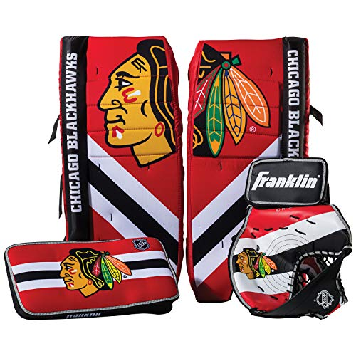 (Franklin Sports Chicago Blackhawks Street Hockey Goalie Equipment Set - S/M Goalie Pads Catch Glove & Blocker - NHL Official Licensed Product)