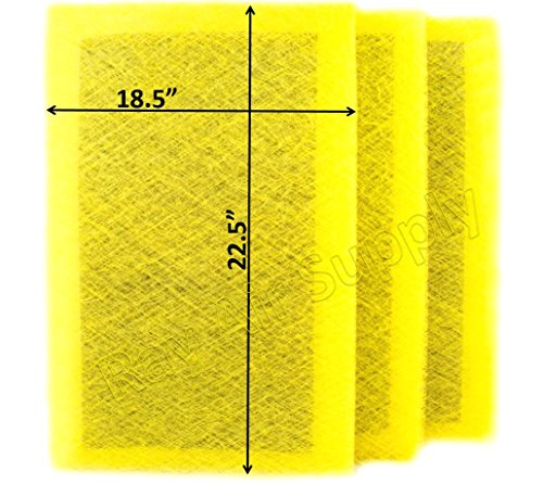 RAYAIR SUPPLY 20x25 MicroPower Guard Air Cleaner Replacement Filter Pads (3 Pack) Yellow