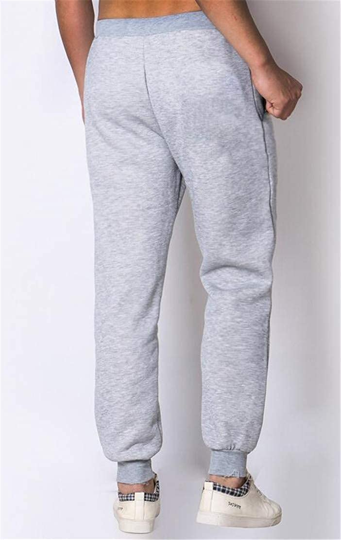 X-Future Men Winter Linen Fleece Elastic Waist Jogger Sports Warm Long Pants