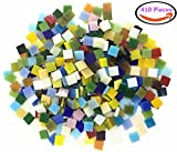 Assorted Colors Mosaic Tiles Kits Art Glass Mosaic For Home Decoration and Crafts Supplies,Bulk Green Gtained Mosaic Glass Squares 0.4 by 0.4 inches,410 Pieces, 250 g