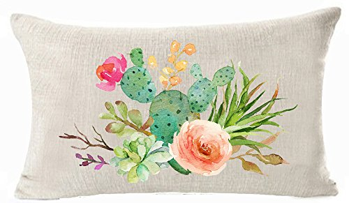 Bnitoam Art Potted Succulents Cactus Flowers Cotton Linen Throw Pillow Covers Case Cushion Cover Sofa Decorative Square 12 X 20 inch (2)