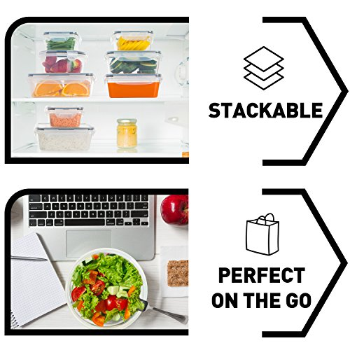 12Pack Food Storage Containers with Lids  Plastic Food Containers with lids  Plastic Containers with lids  Airtight Leak Proof Easy Snap Lock and BPA Free Plastic Container Set for Kitchen Use