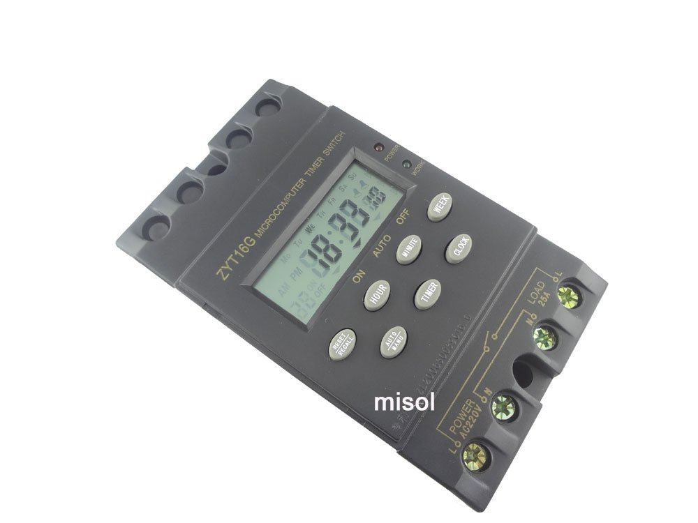 MISOL 1 unit of 220V Timer Switch Timer Controller LCD display, program/programmable timer switch, 25A amps/Interruttore Timer/controllo timer