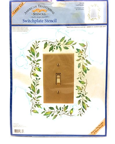 Vintage American Traditional Switchplate Stencil - Leaf Border