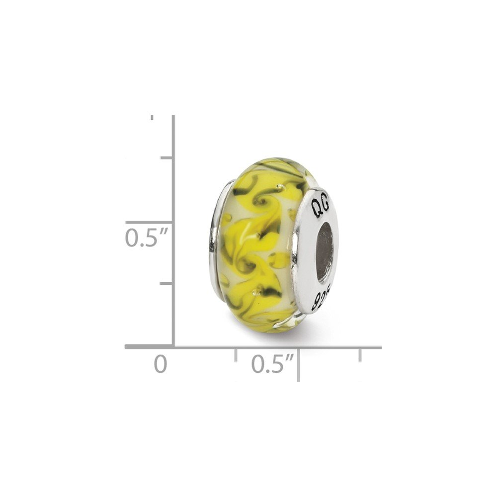 7.3mm x 12.7mm Jewel Tie 925 Sterling Silver Reflections Yellowith Green//White Swirl Glass Bead