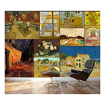 Crafted to Perfection, Wonderful Creative Design, Peel and Stick Wallpapaer Famous Paintings Collage by Vincent Van Gogh Removable Large Wall Mural Creative Wall Decal