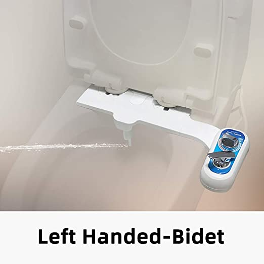 Amazon Com Left Hand Bidet Attachment Non Electric Bidet Toilet Attachment Hot And Cold For Sanitary And Feminine Wash Fresh Water Sprayer W Self Cleaning Dual Nozzle 9 16 Kitchen Dining