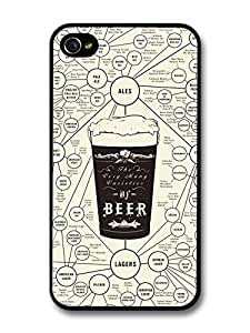 Accessories Beer Diagram with Ales and Lagers Funny case For Apple Iphone 4/4S Case Cover