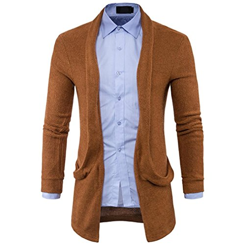 HTHJSCO Mens Casual Long Open Front Slim Sweater Cardigan, Mens Sweater Fashion Solid Long Trench Coat Jacket (Coffee, XL) by HTHJSCO