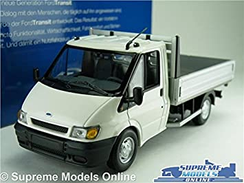 982f980105 FORD TRANSIT MK6 MODEL VAN PICK UP TIPPER 1 43 SCALE MINICHAMPS WHITE    SILVER