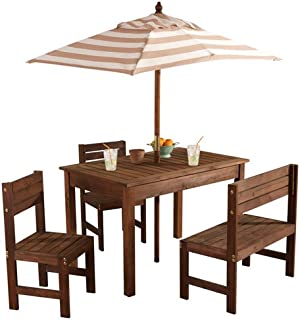 outdoor table and chairs with umbrella tall kidkraft oatmeal white outdoor patio set amazoncom 00 table and bench with cushions