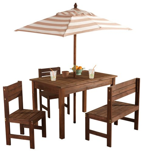 KidKraft Wooden Outdoor Children's Patio Set with Table, 2 Chairs & Beige & White Striped Fabric Umbrella by KidKraft