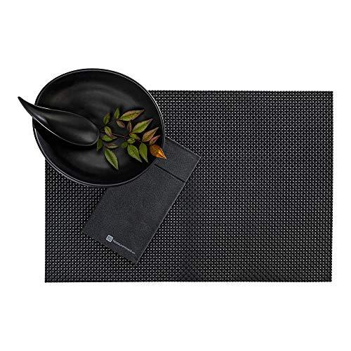 Restaurantware RWA0438 Amalfi Basketweave Black Vinyl Woven Placemat 16