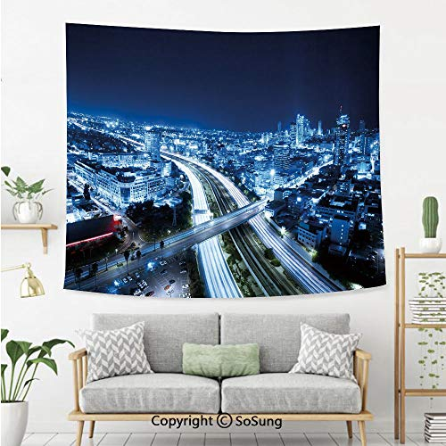 SoSung Travel Decor Wall Tapestry,Aerial View Tel Aviv Night Ayalon Highway City Life Modern Panorama,Bedroom Living Room Dorm Wall Hanging,60X50 Inches,Dark Blue Light Blue