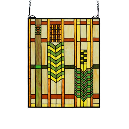 Yogoart 20 inches Mission Tiffany Style Stained Glass Window Panel with Hanging Chain